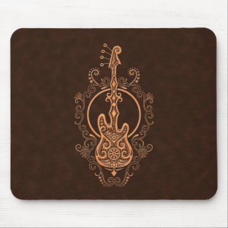 Intricate Brown Bass Guitar Design Mouse Mat