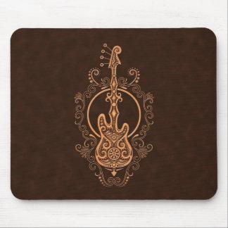 Intricate Brown Bass Guitar Design Mouse Pad