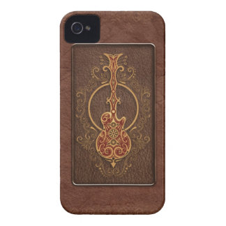 Intricate Brown Leather Guitar Case-Mate iPhone 4 Case