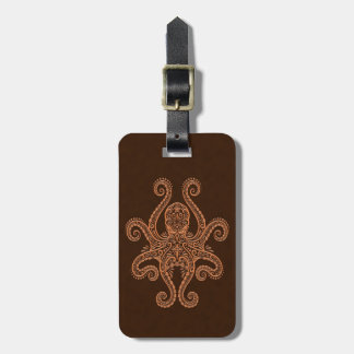 Intricate Brown Octopus Luggage Tag