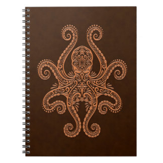 Intricate Brown Octopus Notebooks