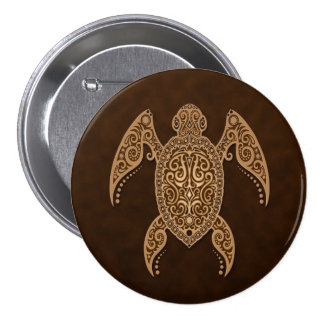 Intricate Brown Sea Turtle 7.5 Cm Round Badge