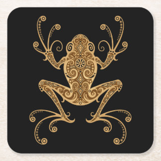 Intricate Brown Tree Frog Square Paper Coaster