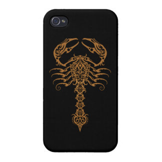 Intricate Brown Tribal Scorpion Cover For iPhone 4