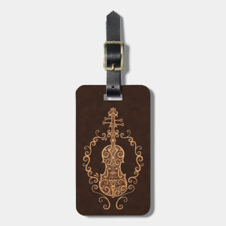 Intricate Brown Violin Design Luggage Tag