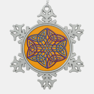 Intricate celtic knot in unusual faded colors pewter snowflake decoration