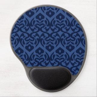 Intricate Dark Blue Heart Pattern On Soft Blue Gel Mouse Pad