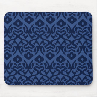 Intricate Dark Blue Heart Pattern On Soft Blue Mouse Pad