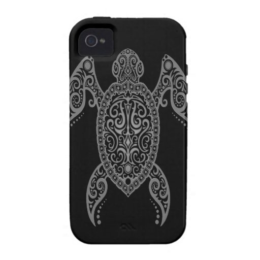 Intricate Dark Sea Turtle iPhone 4/4S Covers