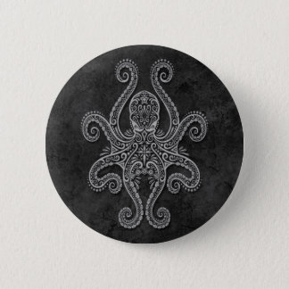 Intricate Dark Stone Octopus 6 Cm Round Badge