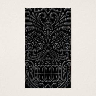 Intricate Dark Sugar Skull Business Card