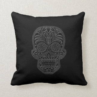 Intricate Dark Sugar Skull Cushion