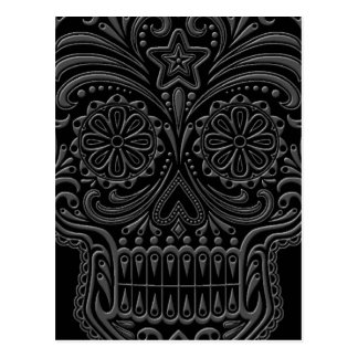 Intricate Dark Sugar Skull Postcards