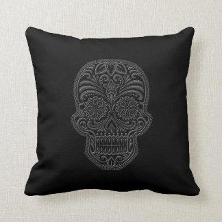 Intricate Dark Sugar Skull Throw Pillow