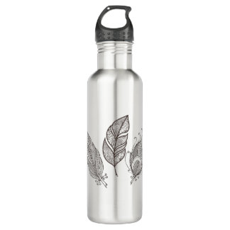 Intricate Feather Doodle 710 Ml Water Bottle