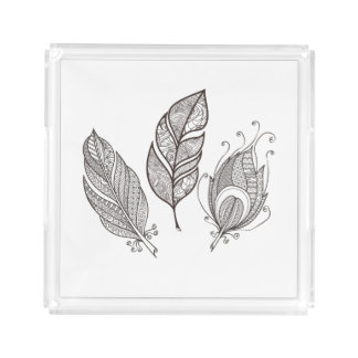 Intricate Feather Doodle Acrylic Tray