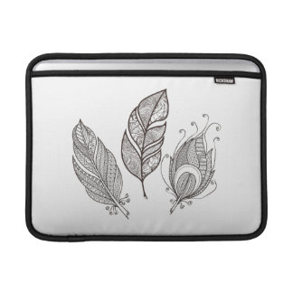 Intricate Feather Doodle MacBook Sleeve