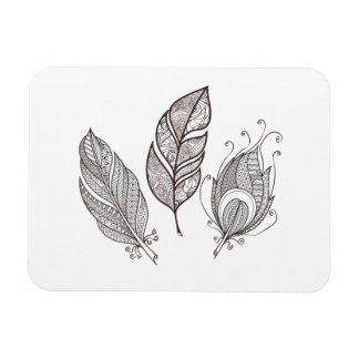 Intricate Feather Doodle Magnet
