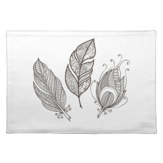 Intricate Feather Doodle Placemat