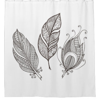 Intricate Feather Doodle Shower Curtain
