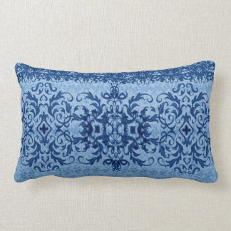 Intricate Fleur De Lis in Blue Lumbar Cushion