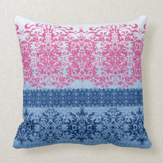 Intricate Fleur De Lis in Pink and Blue Cushion