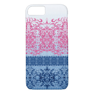 Intricate Fleur De Lis in Pink and Blue iPhone 8/7 Case