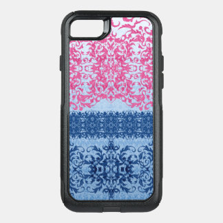 Intricate Fleur De Lis in Pink and Blue OtterBox Commuter iPhone 8/7 Case