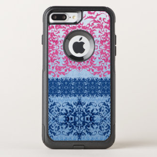 Intricate Fleur De Lis in Pink and Blue OtterBox Commuter iPhone 8 Plus/7 Plus Case