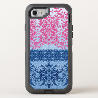 Intricate Fleur De Lis in Pink and Blue OtterBox Defender iPhone 8/7 Case