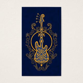 Intricate Golden Blue Bass Guitar Design Business Card