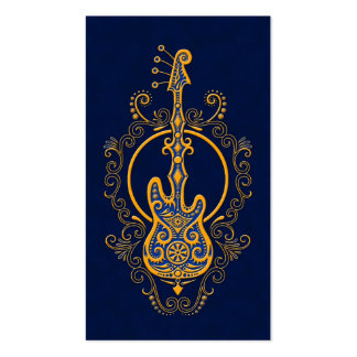 Intricate Golden Blue Bass Guitar Design Business Cards