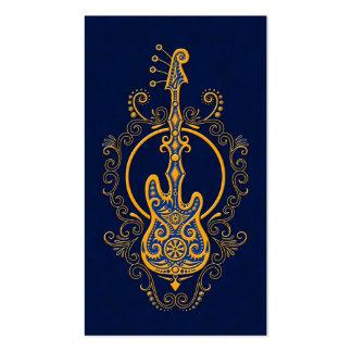 Intricate Golden Blue Bass Guitar Design Pack Of Standard Business Cards