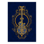 Intricate Golden Blue Guitar Design Pack Of Chubby Business Cards