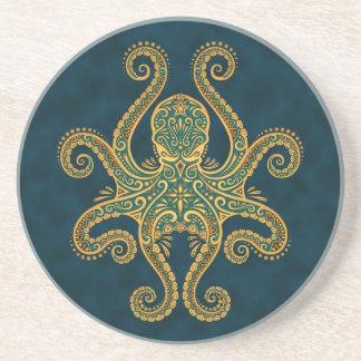 Intricate Golden Blue Octopus Coaster