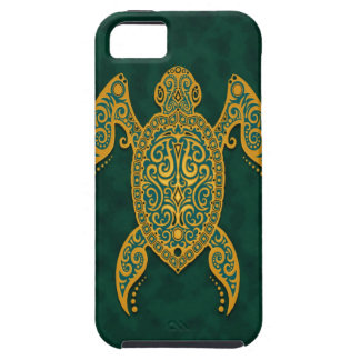 Intricate Golden Blue Sea Turtle Case For The iPhone 5