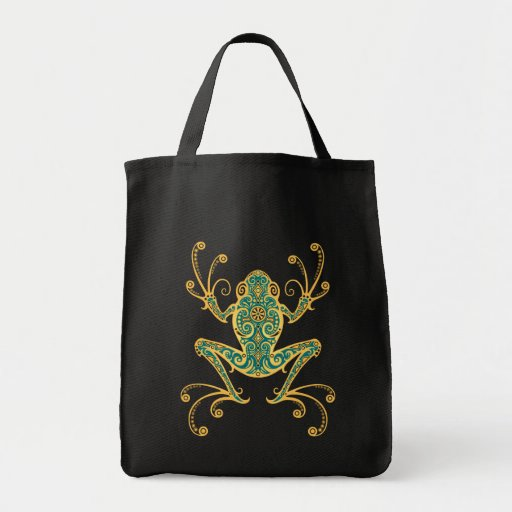 Intricate Golden Blue Tree Frog Bags
