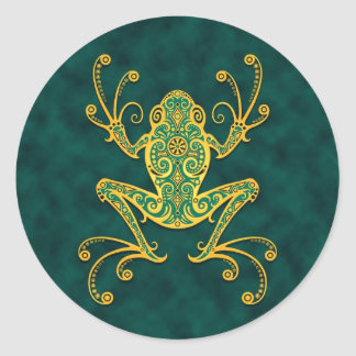 Intricate Golden Blue Tree Frog Classic Round Sticker