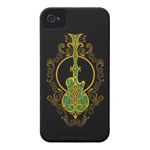 Intricate Golden Green and Black Guitar Blackberry Bold Cover