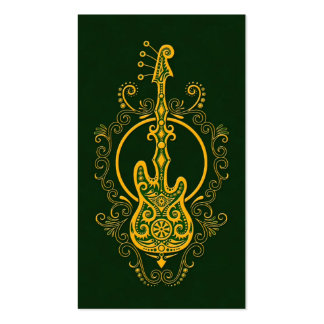 Intricate Golden Green Bass Guitar Design Business Card Templates