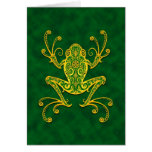 Intricate Golden Green Tree Frog Card