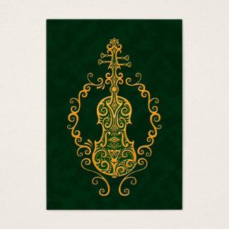Intricate Golden Green Violin Design Business Card