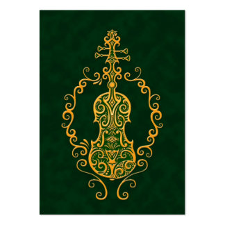 Intricate Golden Green Violin Design Pack Of Chubby Business Cards