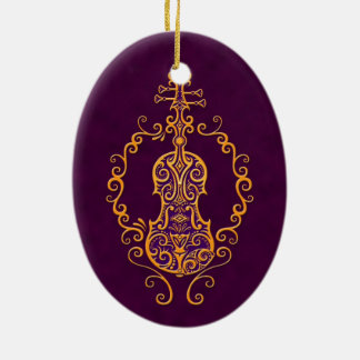 Intricate Golden Purple Violin Design Christmas Ornament