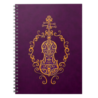 Intricate Golden Purple Violin Design Notebooks