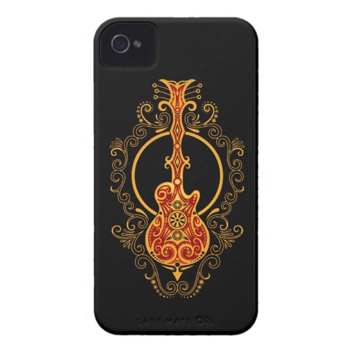 Intricate Golden Red and Black Guitar Blackberry Bold Case