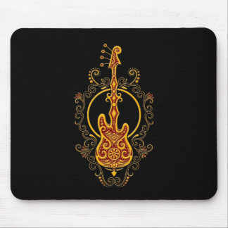Intricate Golden Red Bass Guitar Design on Black Mouse Pad