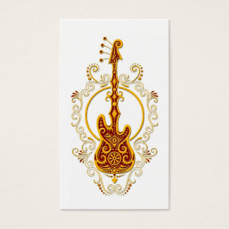 Intricate Golden Red Bass Guitar Design on White Business Card