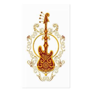 Intricate Golden Red Bass Guitar Design on White Pack Of Standard Business Cards