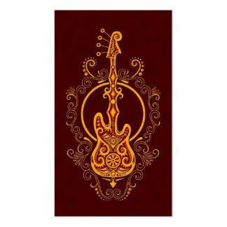 Intricate Golden Red Bass Guitar Design Pack Of Standard Business Cards